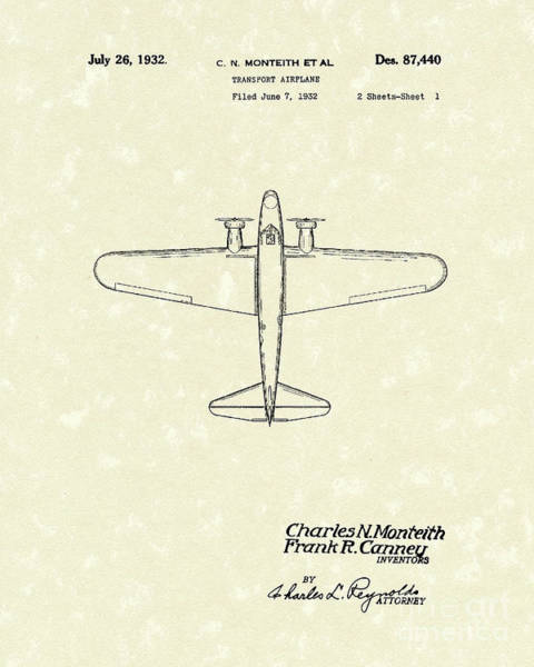 Airplane Drawing - Airplane 1932 Patent Art by Prior Art Design