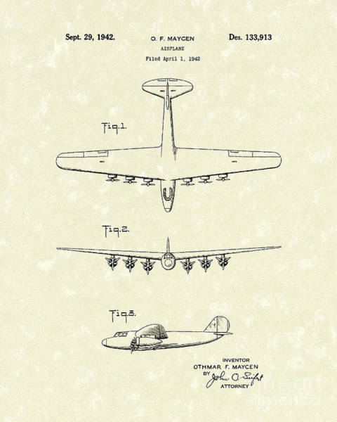 Airplane Drawing - Airplane 1942 Patent Art by Prior Art Design