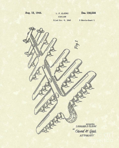 Airplane Drawing - Airplane 1944 Patent Art by Prior Art Design