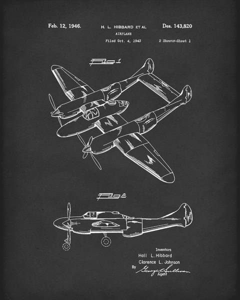 Drawing - Airplane 1946 Patent Art Black by Prior Art Design