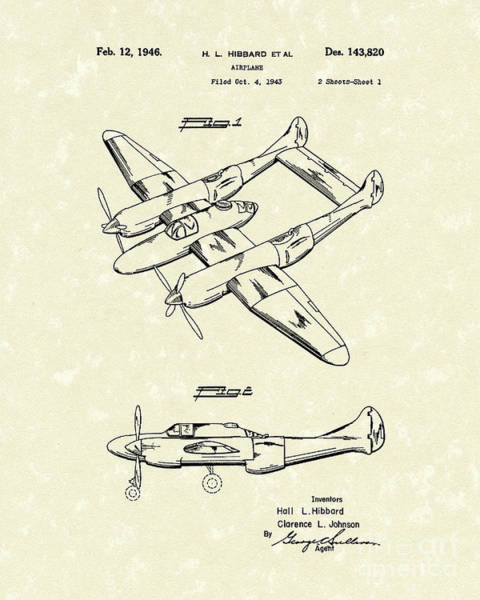 Airplane Drawing - Airplane 1946 Patent Art by Prior Art Design