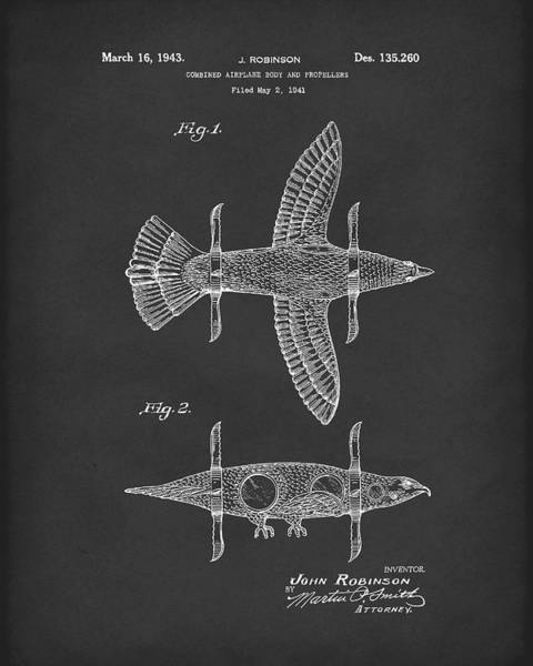 Drawing - Airplane Bird Body Design 1943 Patent Art Black by Prior Art Design