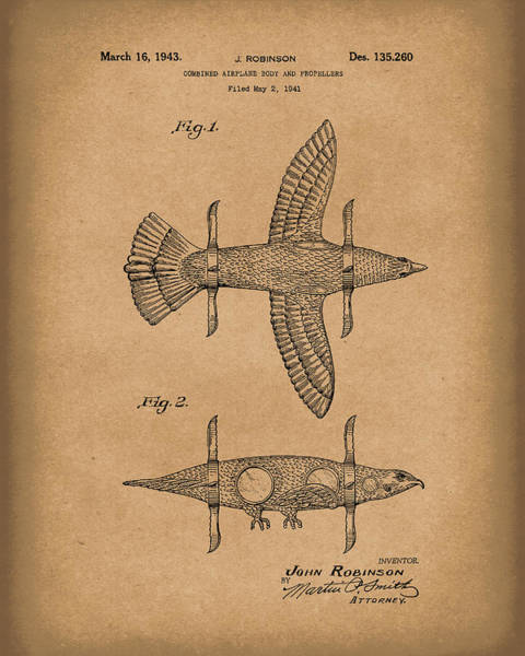 Drawing - Airplane Bird Body Design 1943 Patent Art Brown by Prior Art Design