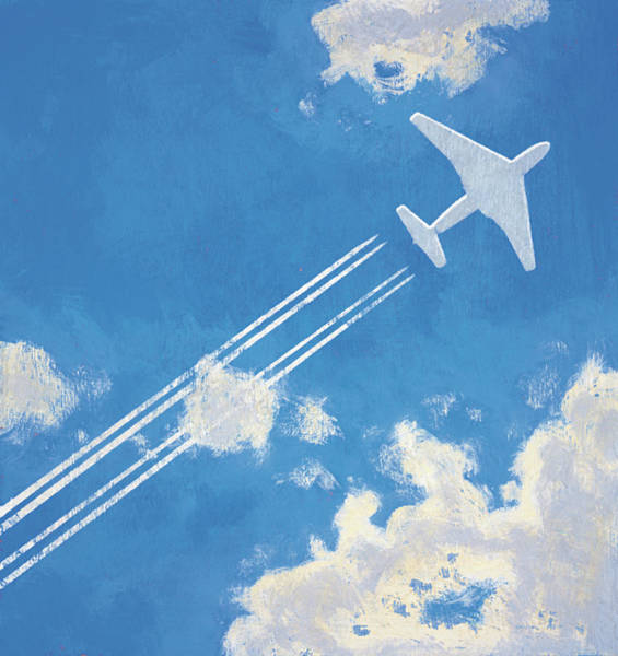 Straight Ahead Wall Art - Photograph - Airplane Flying And Leaving Contrail by Ikon Ikon Images