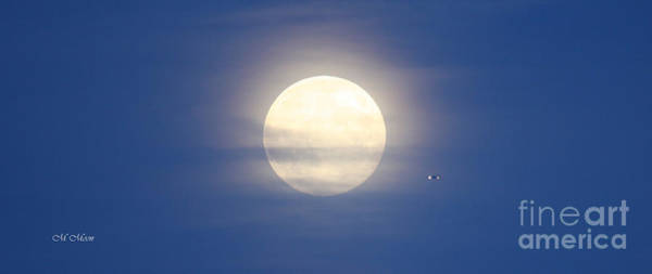 Photograph - Airplane Flying Into Full Moon by Tap On Photo