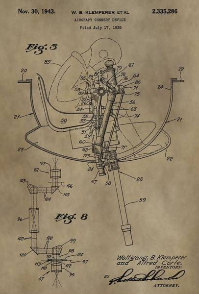 Shooting Mixed Media - Airplane Gunnery Patent by Dan Sproul