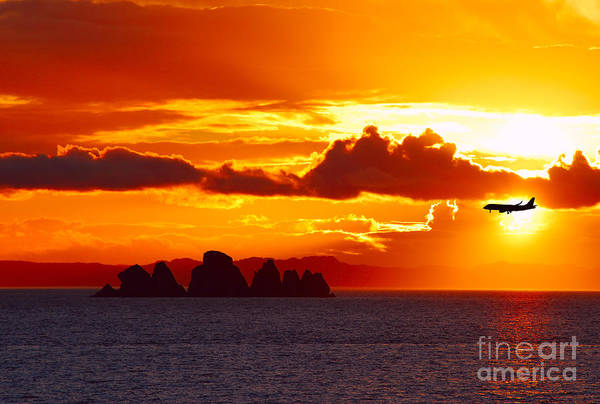 Photograph - Airplane Over An Island In Newfoundland by Les Palenik