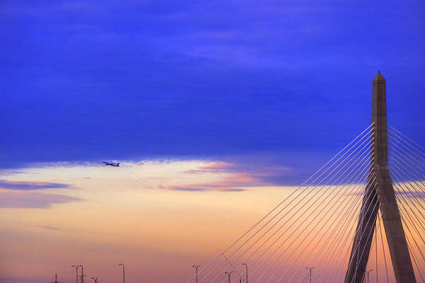 Photograph - Airplane Over Logan Airport And Zakim Bridge by Joann Vitali