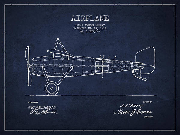 Wall Art - Digital Art - Airplane Patent Drawing From 1918 by Aged Pixel