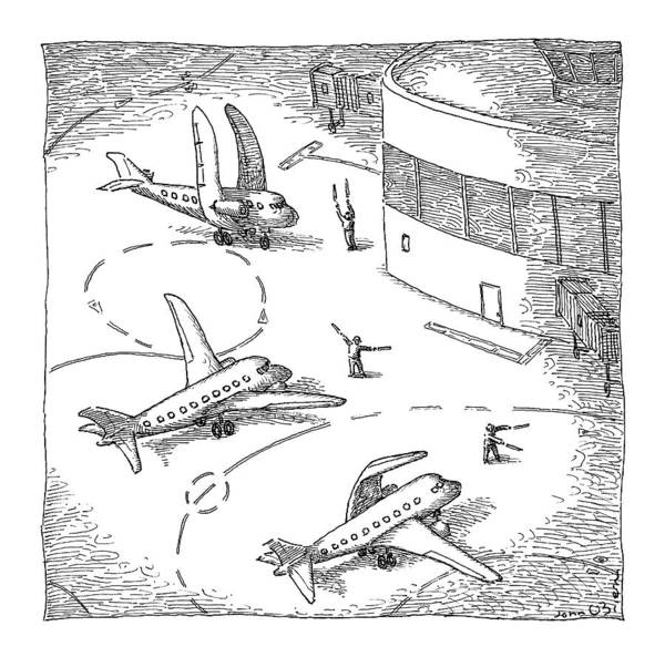 Airplane Drawing - Airplanes On A Runway Match Their Wings by John O'Brien