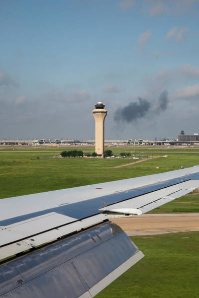 Fort Worth Photograph - Airport Control Tower And Airplane Wing by Jim West