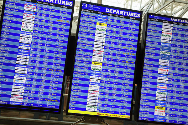 Notice Board Photograph - Airport Departures Board by Jim West