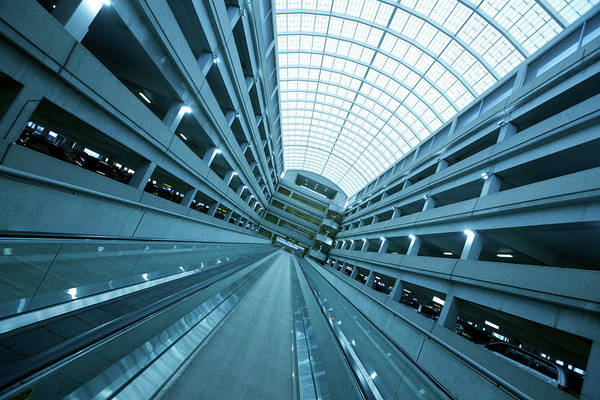 Parking Garage Photograph - Airport Escalator by Skodonnell