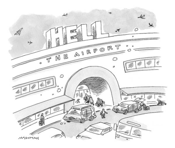 Devil Drawing - Airport Scene. Sign On Top Of Airport Says Hell by Mick Stevens