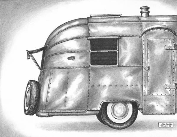 Trailer Drawing - Airstream Vacation by Adam Zebediah Joseph