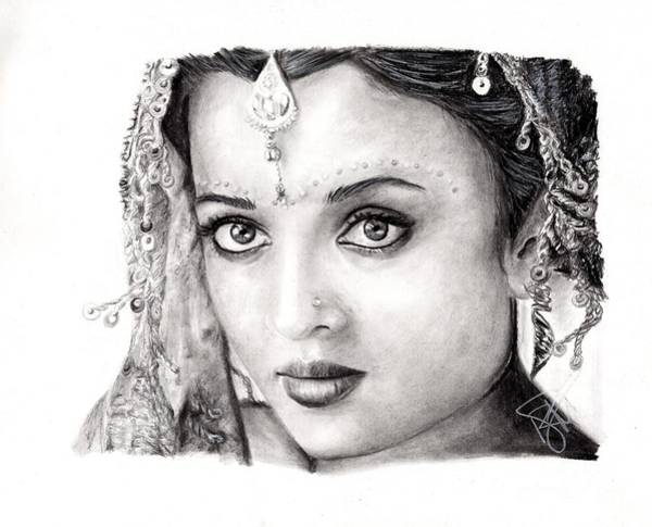 Bollywood Wall Art - Drawing - Aishwarya Rai by Rosalinda Markle