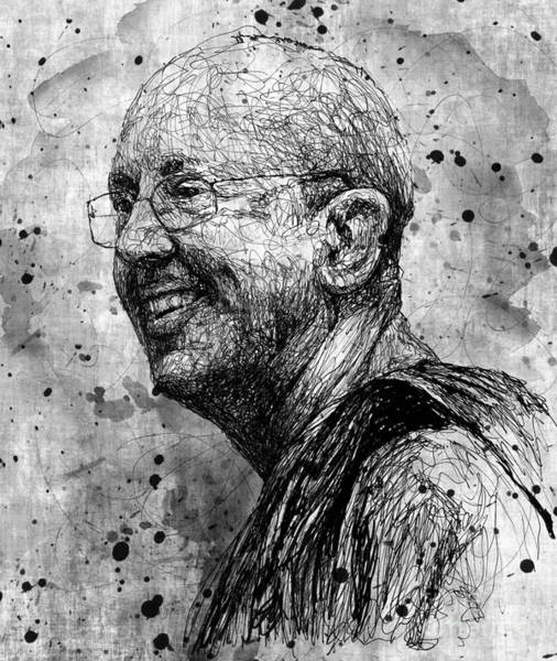Wall Art - Drawing - Ajahn Brahm by Michael Volpicelli
