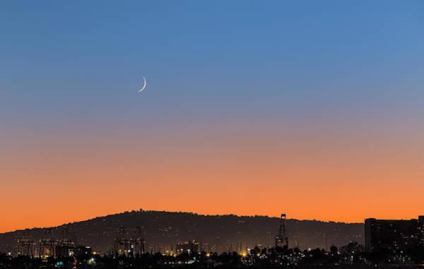 Bluehour Photograph - Ajs Moonset Byu Denise Dube by Denise Dube