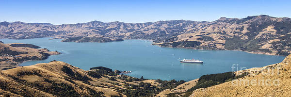 South Bank Photograph - Akaroa Harbour New Zealand With Queen Mary 2 by Colin and Linda McKie