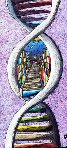 Double Helix Painting - Akashic Record by Corey Holland