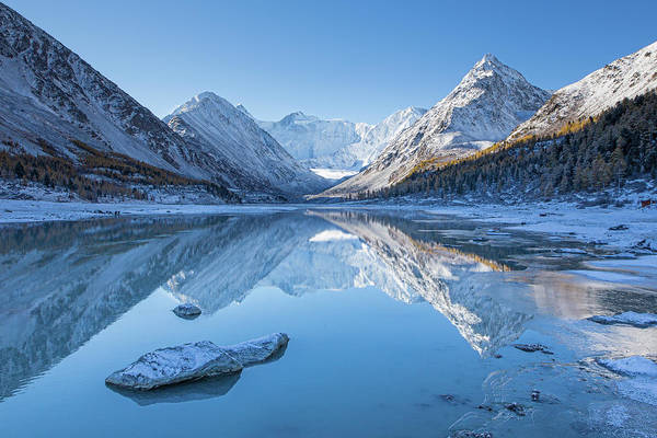 Blue Ice Photograph - Akkem Lake by Stanislav Aristov