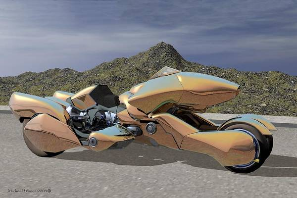 Speed Boat Digital Art - Aku Motorcycle by Michael Wimer
