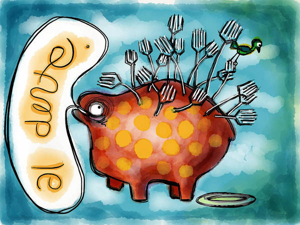 Speech Bubble Wall Art - Painting - Al Dente by Kelly Jade King