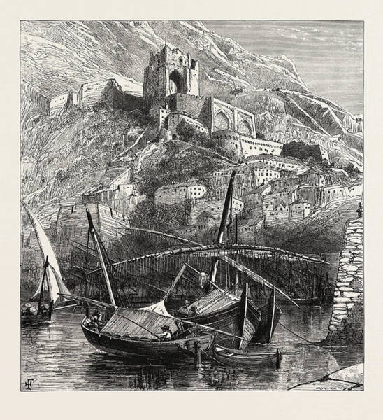 Old Style Drawing - Al The Old Mole, Gibraltar And Ronda by English School