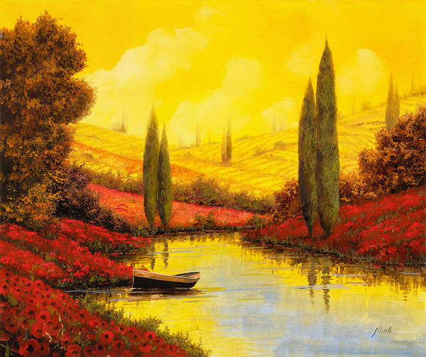 Afternoon Painting - Al Tramonto Sul Torrente by Guido Borelli
