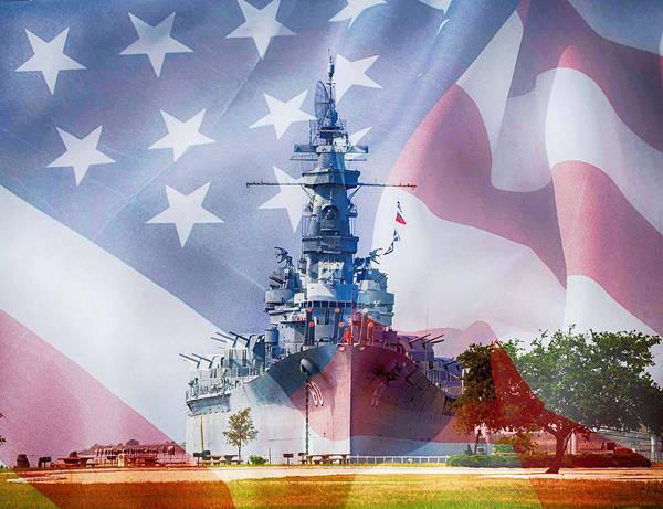 Digital Art - Battleship Alabama And Flag by Michael Thomas