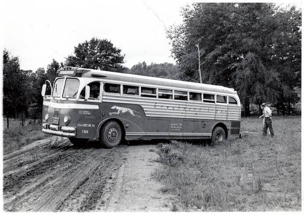 Autobus Photograph - Alabama Bus In Trouble 1953 by Matjaz Preseren