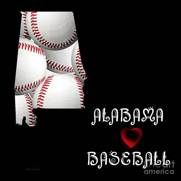 Digital Art - Alabama Loves Baseball by Andee Design