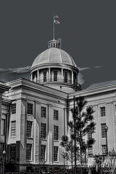 Photograph - Alabama State Capital Building Hdr Art Bw by Lesa Fine