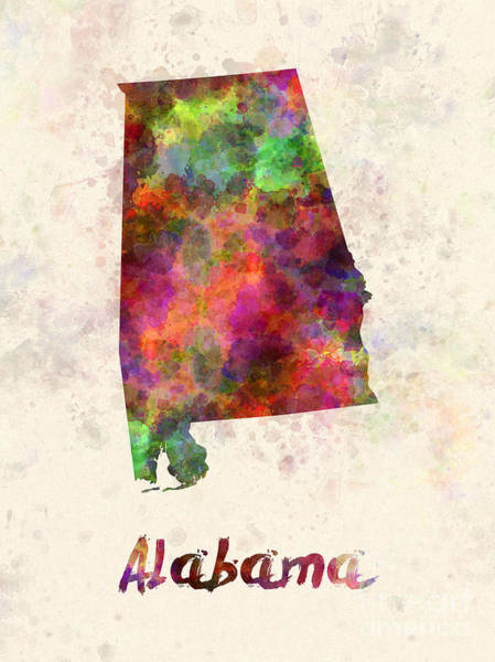 Alabama Painting - Alabama Us State In Watercolor by Pablo Romero