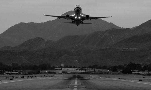 Landing Gear Photograph - Alaska Airlines Palm Springs Takeoff by John Daly