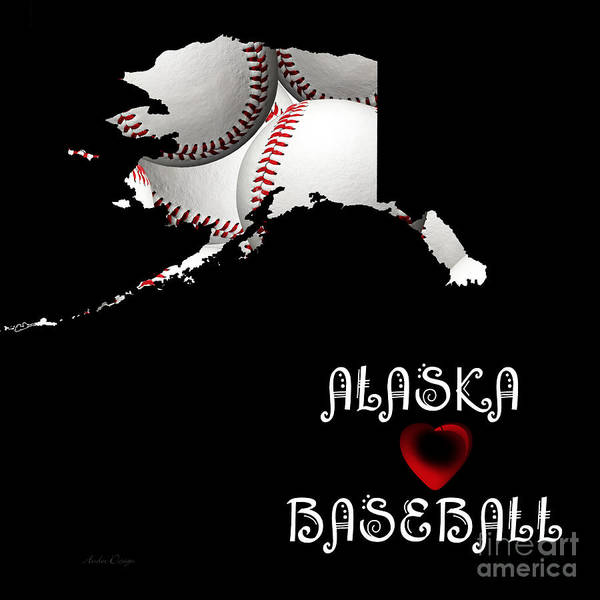 Digital Art - Alaska Loves Baseball by Andee Design