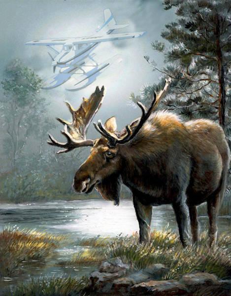 Wall Art - Painting - Alaska Moose With Floatplane by Regina Femrite