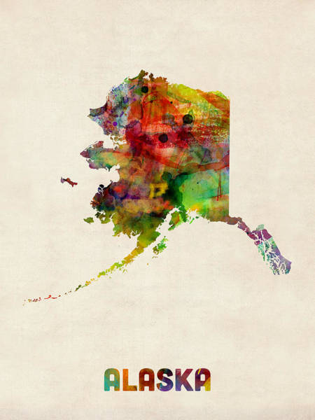 Wall Art - Digital Art - Alaska Watercolor Map by Michael Tompsett
