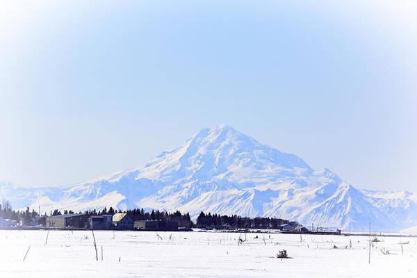 Mounted Digital Art - Alaska Winter Wonderland Mount Redoubt by Debra  Miller