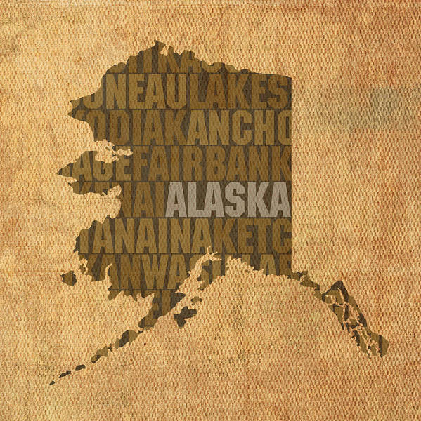 Map Art Mixed Media - Alaska Word Art State Map On Canvas by Design Turnpike