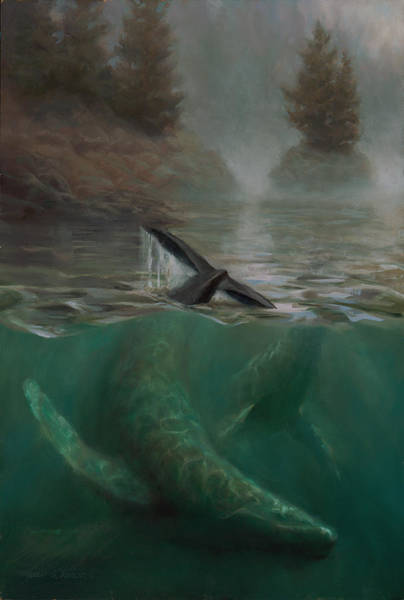 Sealife Painting - Humpback Whales - Underwater Marine - Coastal Alaska Scenery by Karen Whitworth