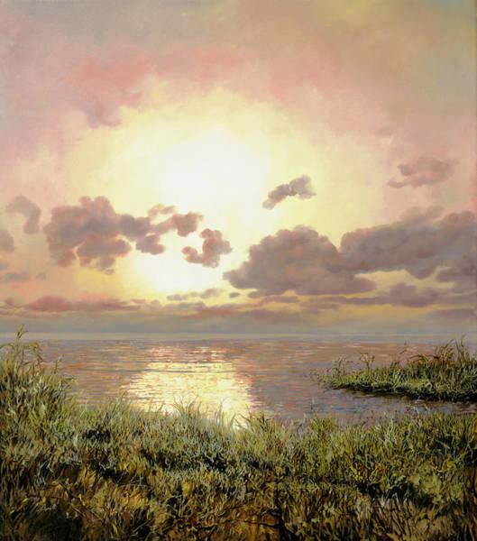 Bushes Painting - Alba Nella Palude by Guido Borelli