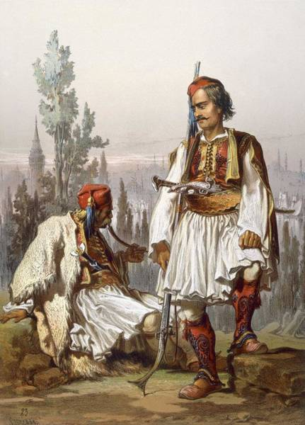 Sword Drawing - Albanians, 1865 by Amadeo Preziosi