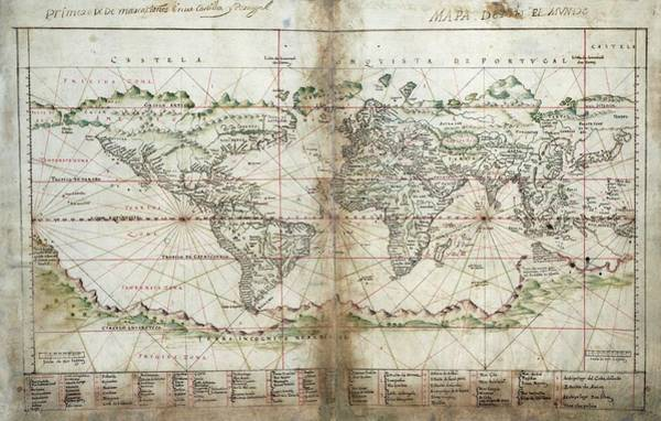 Empire Line Photograph - Albernaz's World Map by Library Of Congress/science Photo Library