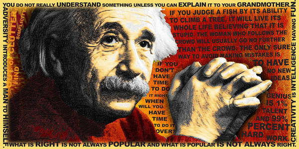 Painting - Albert Einstein And Quotes Gold And Red by Tony Rubino