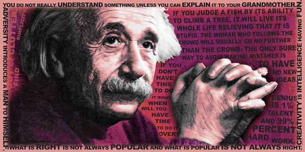 Painting - Albert Einstein And Quotes Red by Tony Rubino