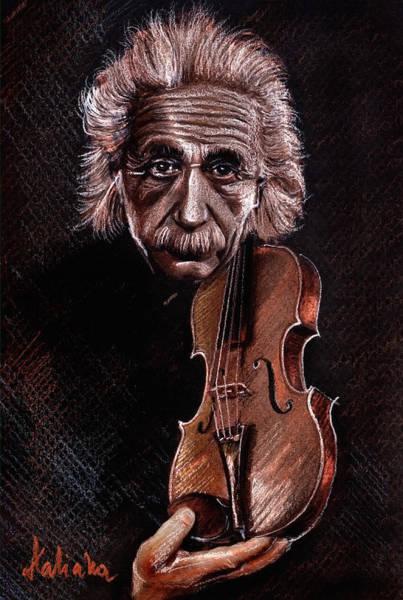 Drawing - Albert Einstein And Violin by Daliana Pacuraru