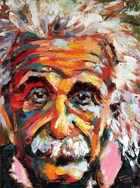 Einstein Wall Art - Painting - Albert Einstein by Derek Russell