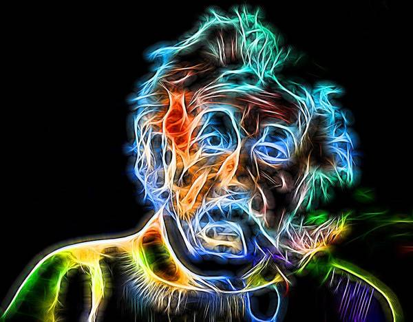 Quantum Digital Art - Albert Einstein Neon by Dan Sproul