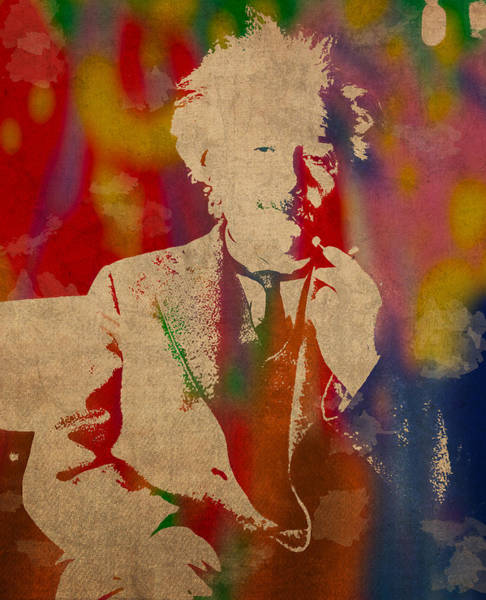 Einstein Wall Art - Mixed Media - Albert Einstein Watercolor Portrait On Worn Parchment by Design Turnpike